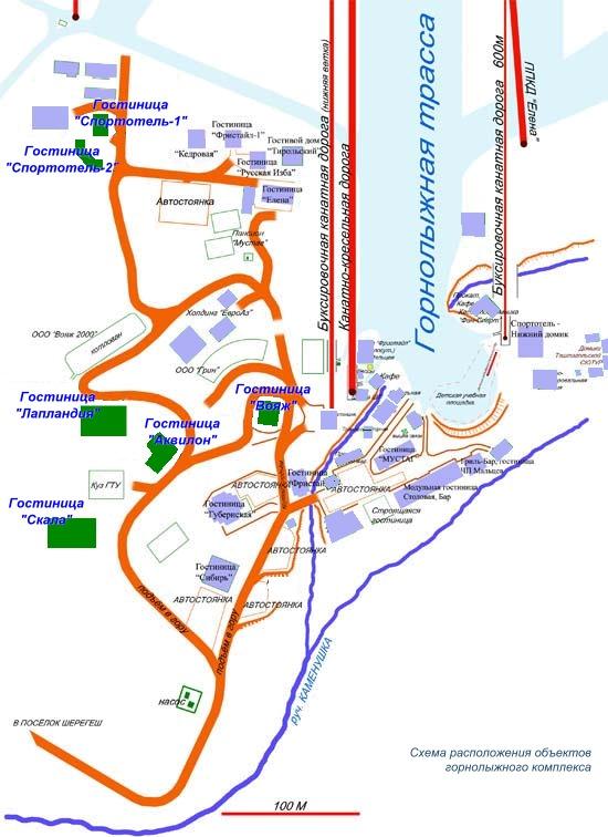 Схема проезда к отелям